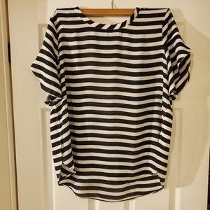 LOFT Black & White Striped Blouse